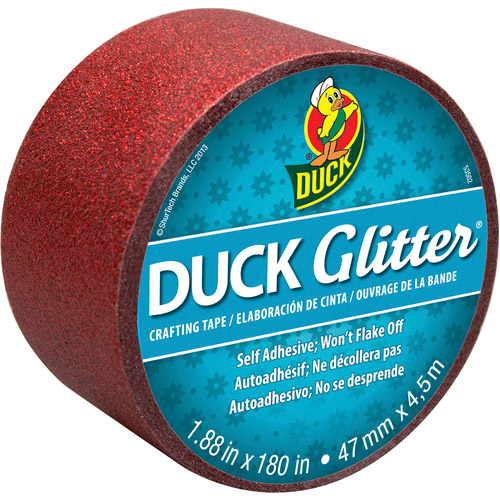 "Duck Brand Glitter Tape, 1.88"" x 180 inches, Red"