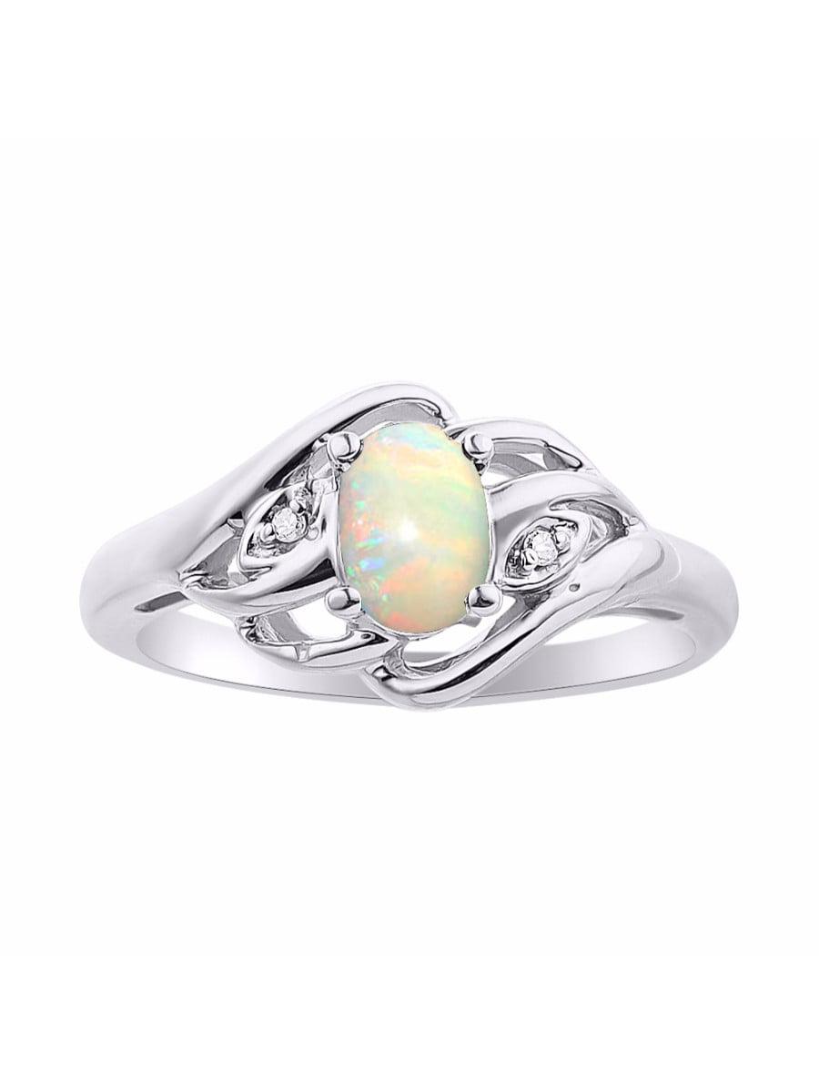 Diamond & Opal Ring Set In Sterling Silver Birthstone DSL-LR6424OPW by Rylos