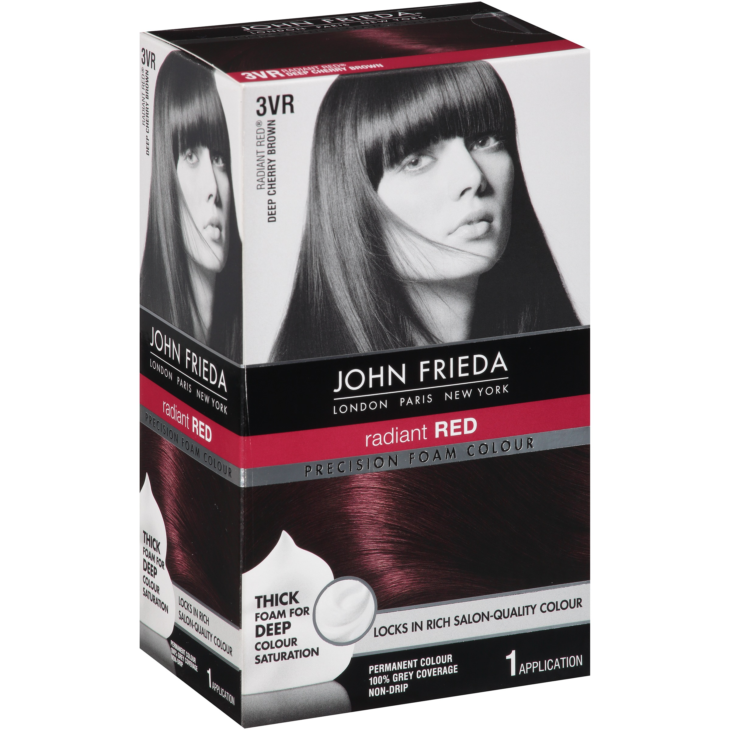 John Frieda Permanent Colour Radiant Red Deep Cherry Brown 3vr 10