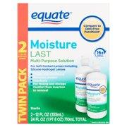 Equate Moisture Last Multi-Purpose Solution, 12 fl oz, 2 count