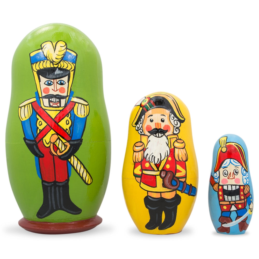"4.25"" Set of 3 Nutcracker Soldiers Wooden Nesting Dolls"