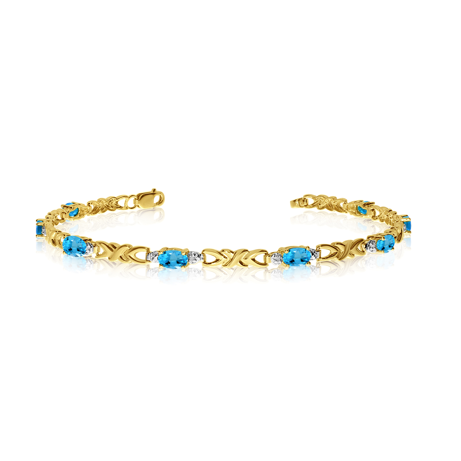 14K Yellow Gold Oval Blue Topaz and Diamond Bracelet by