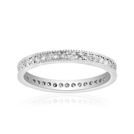 3/8ct Diamond Eternity Milgrain Wedding Ring 14K White Gold Women Stackable -
