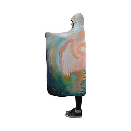 ASHLEIGH Hooded Blanket Beautiful Girl Swan Throw Blanket 40x50 (Susan Throw)