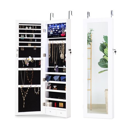 Cloud Mountain Jewelry Cabinet Organizer 6 LEDs Jewelry Armoire Lockable Wall Door Mounted Hanging Jewelry Cabinet Box with Mirror 2 Drawers Bedroom, Living Room, Cloakroom, (Heartwood Jewelry Boxes)