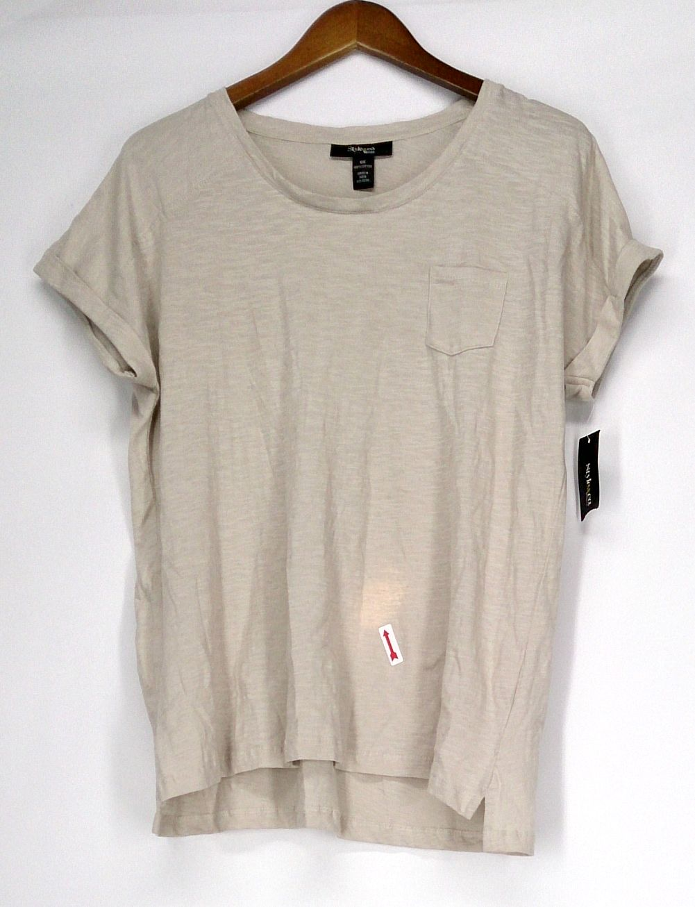 Style & Co. Size 0X Cuffed Short Sleeve T-Shirt Stonewall Beige Womens