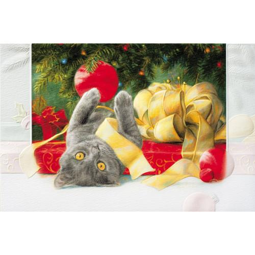Pack of 16 Kitty Cat and Tree Fine Art Embossed Deluxe Christmas Greeting Cards