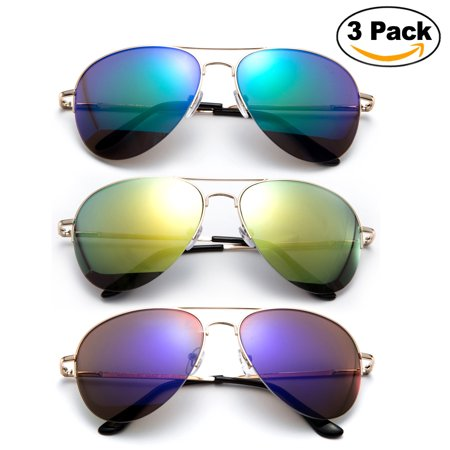 Newbee Fashion - 3 Pack Classic Aviator Sunglasses Flash Full Mirror lenses Semi Half Frame for Men Women with Spring Hinge UV