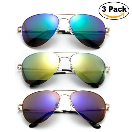 Newbee Fashion - 3 Pack Classic Aviator Sunglasses Flash Full Mirror lenses Semi Half Frame for Men Women with Spring Hinge UV (Aviator Sunglasses With Mirror Lens)