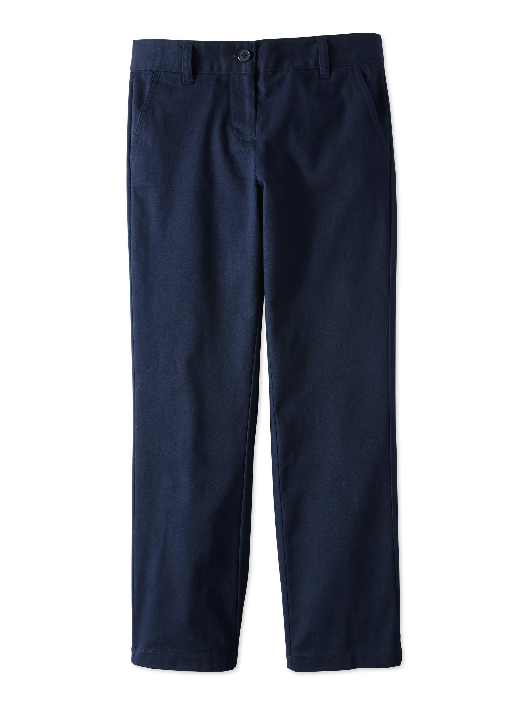 Girls Plus School Uniform Stretch Twill Straight Fit Pants