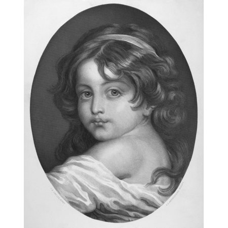 Greuze Childhood Nsteel Engraving French 19Th Century After A Painting By Jean Baptiste Greuze (1725-1805) Rolled Canvas Art -  (24 x 36)