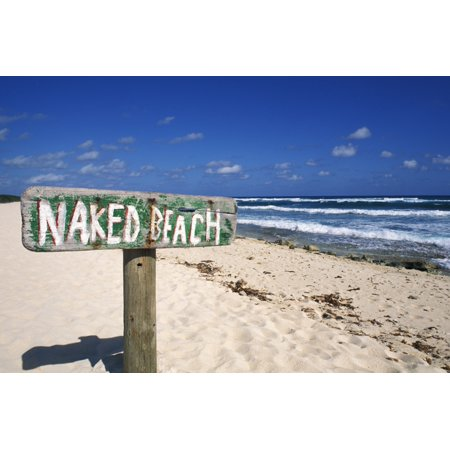 Halloween Naked Pics (Mexico Yucatan Peninsula Cozumel Naked Beach Sign In Sand Ocean And Blue Sky In Background Canvas Art - Bill Bachmann  Design Pics (34 x)