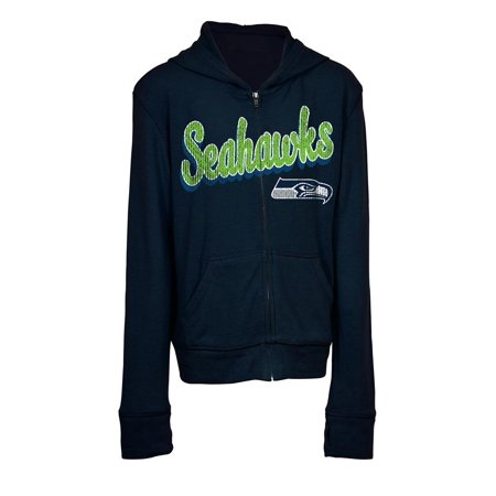 brand new 086f9 e4e96 Girls Seattle Seahawks Hoodie Full Zip Brushed Knit Jacket