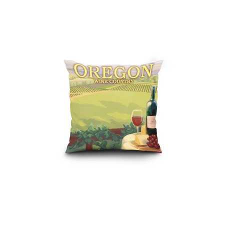 Oregon Wine Country Lantern Press Artwork 16x16 Spun Polyester Pillow