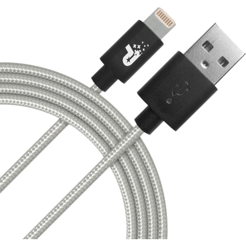 Patriot Memory Charge and Sync Lightning Woven Cable - 3.3 ft - Lightning/USB for iPhone, iPod, iPad - 3.30 ft - 1 x Type A Male USB - 1 x Lightning Male Proprietary Connector - MFI - Silver