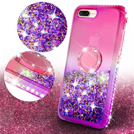iPhone 7 Case, iPhone 8 Case, Liquid Floating Quicksand Glitter Phone Case Girls Kickstand,Bling Diamond Bumper Ring Stand Protective Pink iPhone 7/8 Case for Girl Women, Hot Pink - image 4 of 5