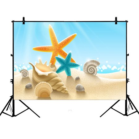 YKCG 7x5ft Seashell Starfish Sand Tropical Summer Island Beach Photography Backdrops Polyester Photography Props Studio Photo Booth Props