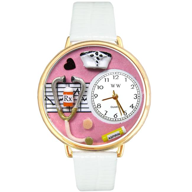Whimsical Gifts G-0620047 Nurse Pink Watch In Gold Large