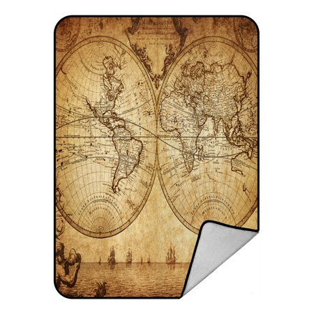 Mlb Mvp Crystal (YKCG Vintage World Map Ancient Nautical Chart Navigation Voyage Sailing Blanket Crystal Velvet Front and Lambswool Sherpa Fleece Back Throw Blanket 58x80inches )