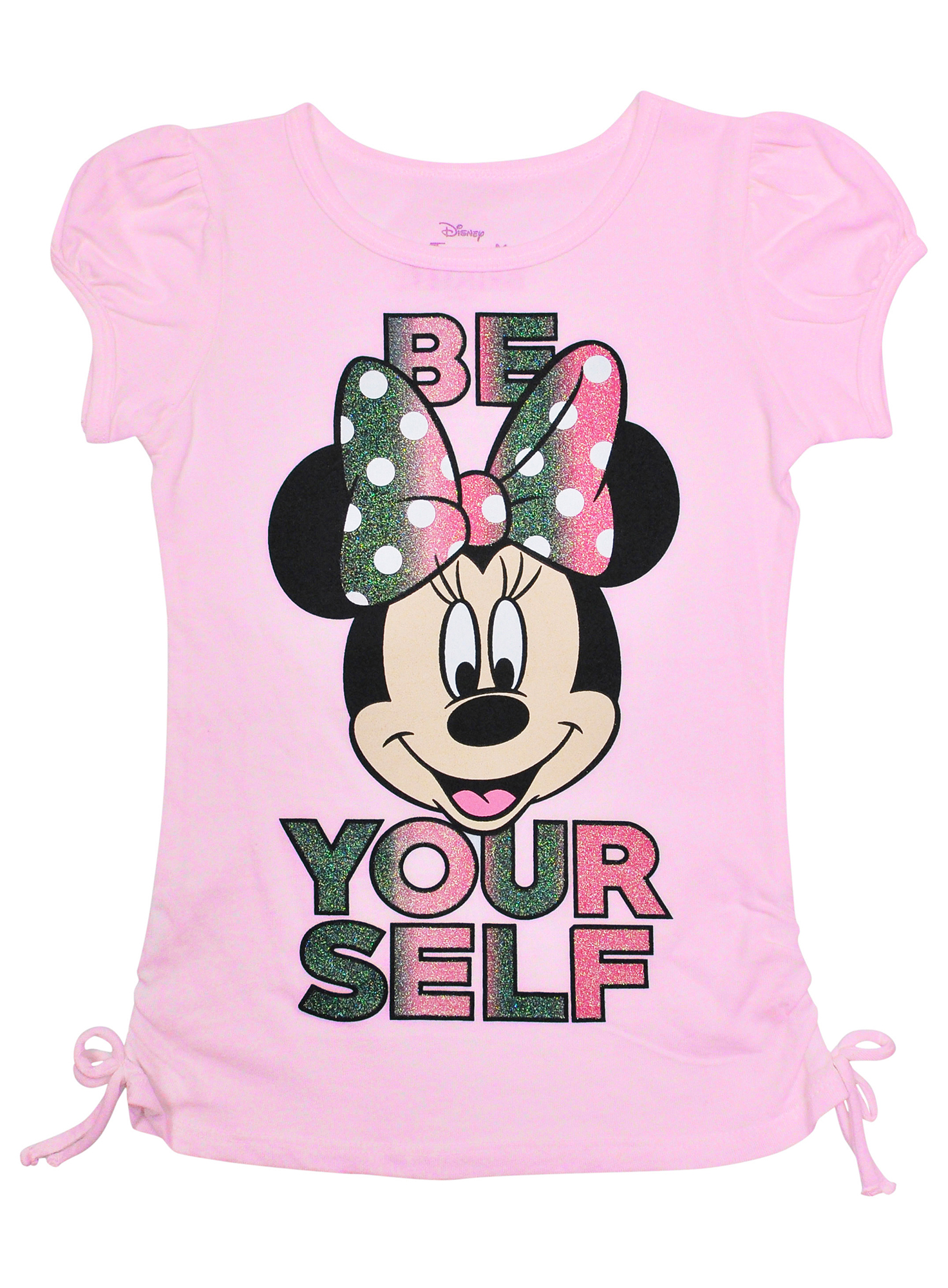 Minnie Mouse Be Yourself Glitter Side-Tie Girls T-Shirt Pink