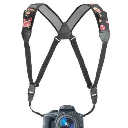 - Camera Strap Chest Harness with Floral Neoprene and Accessory Pockets by USA GEAR - Works with Canon , Nikon , Fujifilm , Sony , Panasonic and More DSLR , Point & Shoot , Mirrorless Cameras