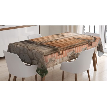 Rustic Tablecloth, Wooden Door of a Stone House with Wrought Iron Elements Tuscany Architecture Photo, Rectangular Table Cover for Dining Room Kitchen, 60 X 84 Inches, Brown Grey, by -