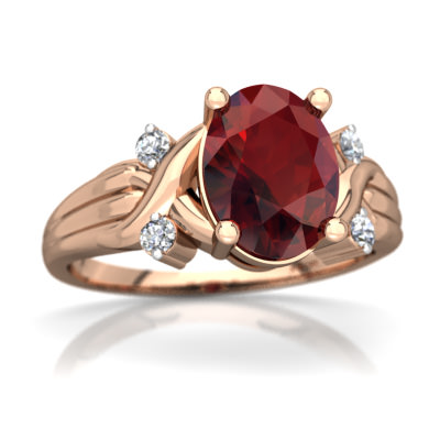 Garnet Cross-Over Ring in 14K Rose Gold by