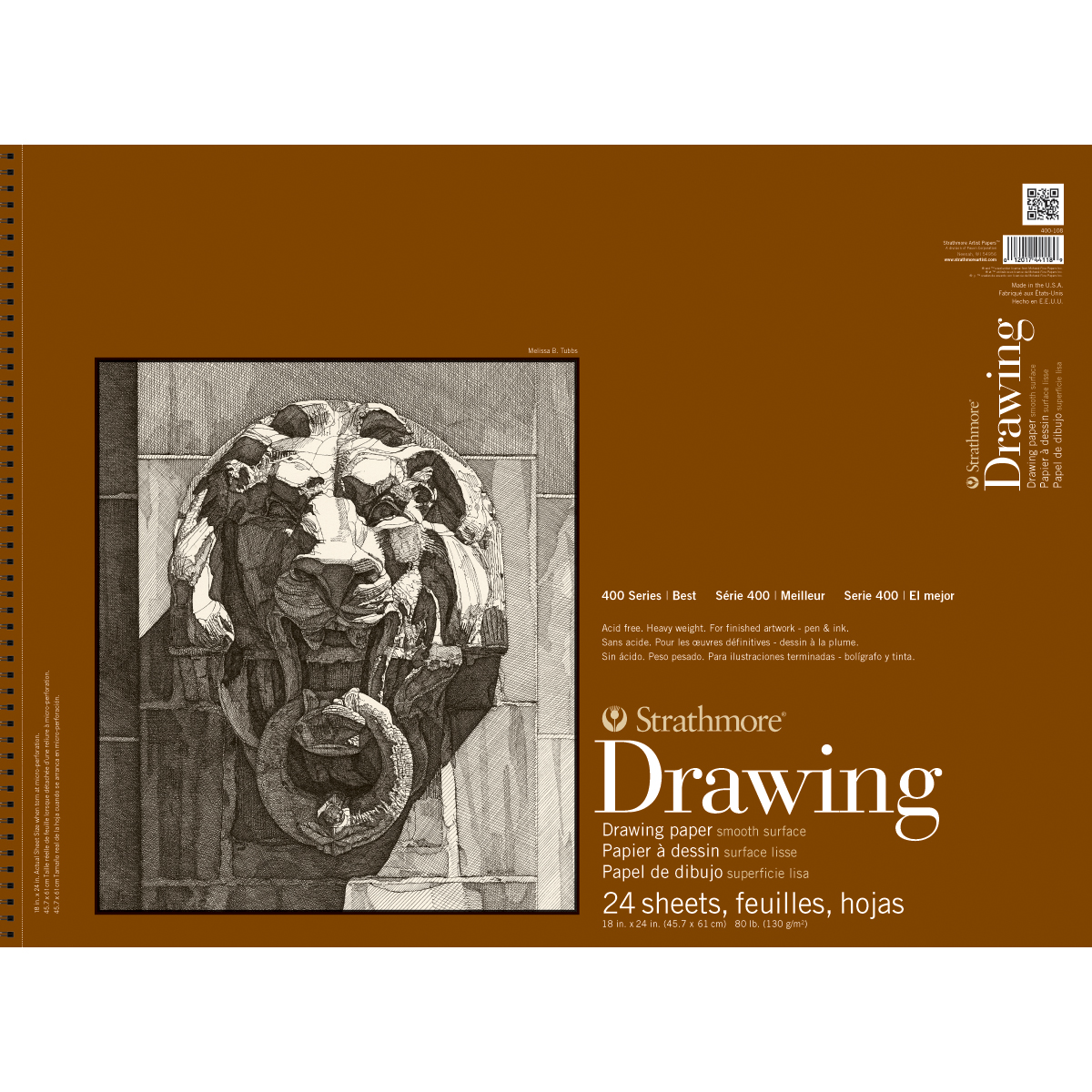 "Strathmore Smooth Surface Drawing Paper Pad, 18"" x 24"", 80 lb, 24 Sheets"