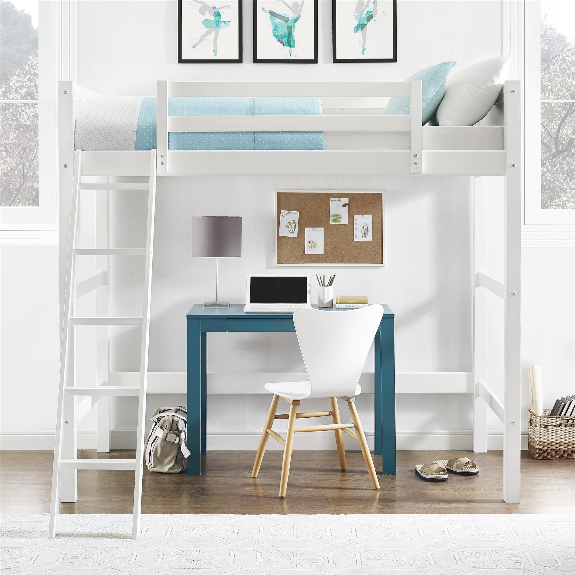 loft bed frame for kids teens girls boys twin size wood lofted beds white modern 65857150568 ebay. Black Bedroom Furniture Sets. Home Design Ideas