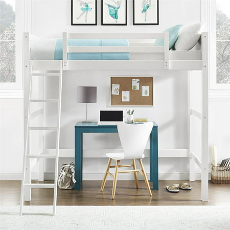 Your Zone Collection Twin Wood Loft Bed, White - Low Loft Bunk Bed