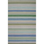 5' x 8' Jungle Green, Sage Green, and Sea Blue Cielo Flat-Weave Stripe Pattern Wool Area Throw Rug