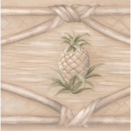 Wallpaper Border - Beautiful Beige White Wicker Fence with Pinecone Wall Border Retro Design, Roll 15 ft X 4 in