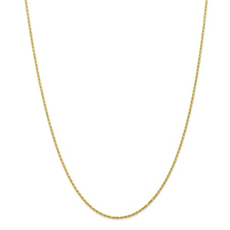 Roy Rose Jewelry 10K Yellow Gold 1.5mm Machine Made Diamond Cut Rope Chain Necklace ~ Length 22'' inches