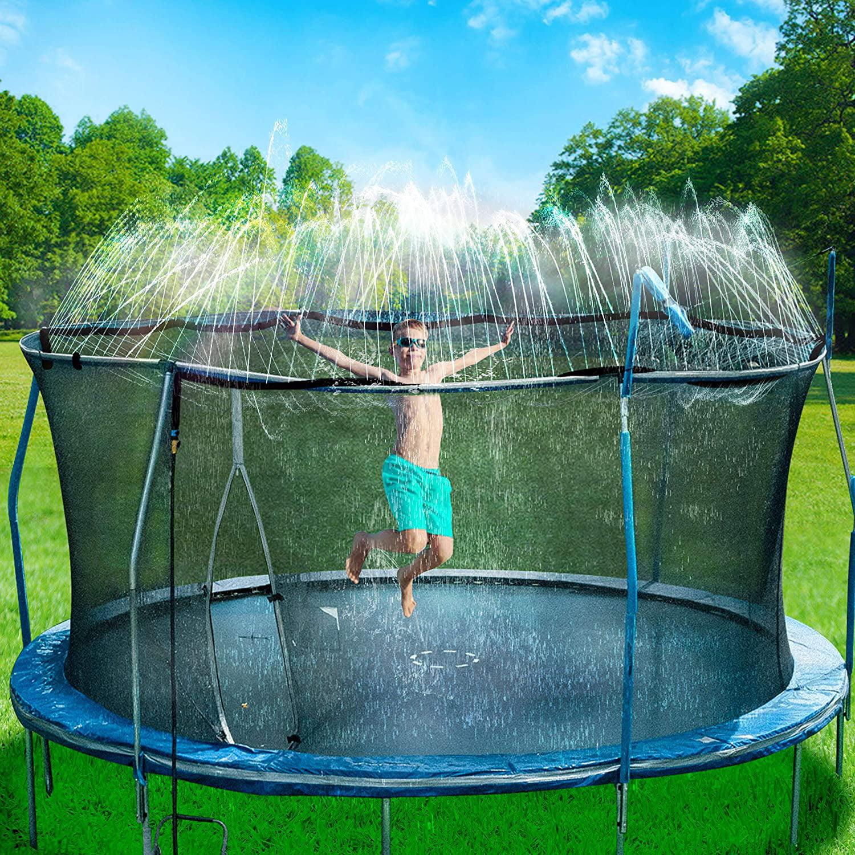 Outdoor Water Play Sprinklers Trampoline Spray Waterpark Fun Summer Water Toys Landgarden Trampoline Sprinklers for Kids 49ft//15M