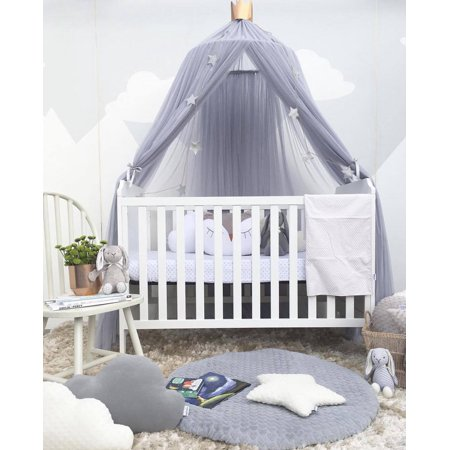 Mosquito Net Outgeek Girls Princess Romantic Netting Curtain Dome Bed Canopy Anti For Kids Toddler Bedroom Nursery Decor Grey 945in