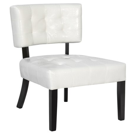 Best Choice Products Deluxe Wide-Seat Tufted Leather Accent Chair - Cream White