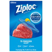 Ziploc Brand Freezer Quart Bags with Grip 'n Seal Technology, 75 Count