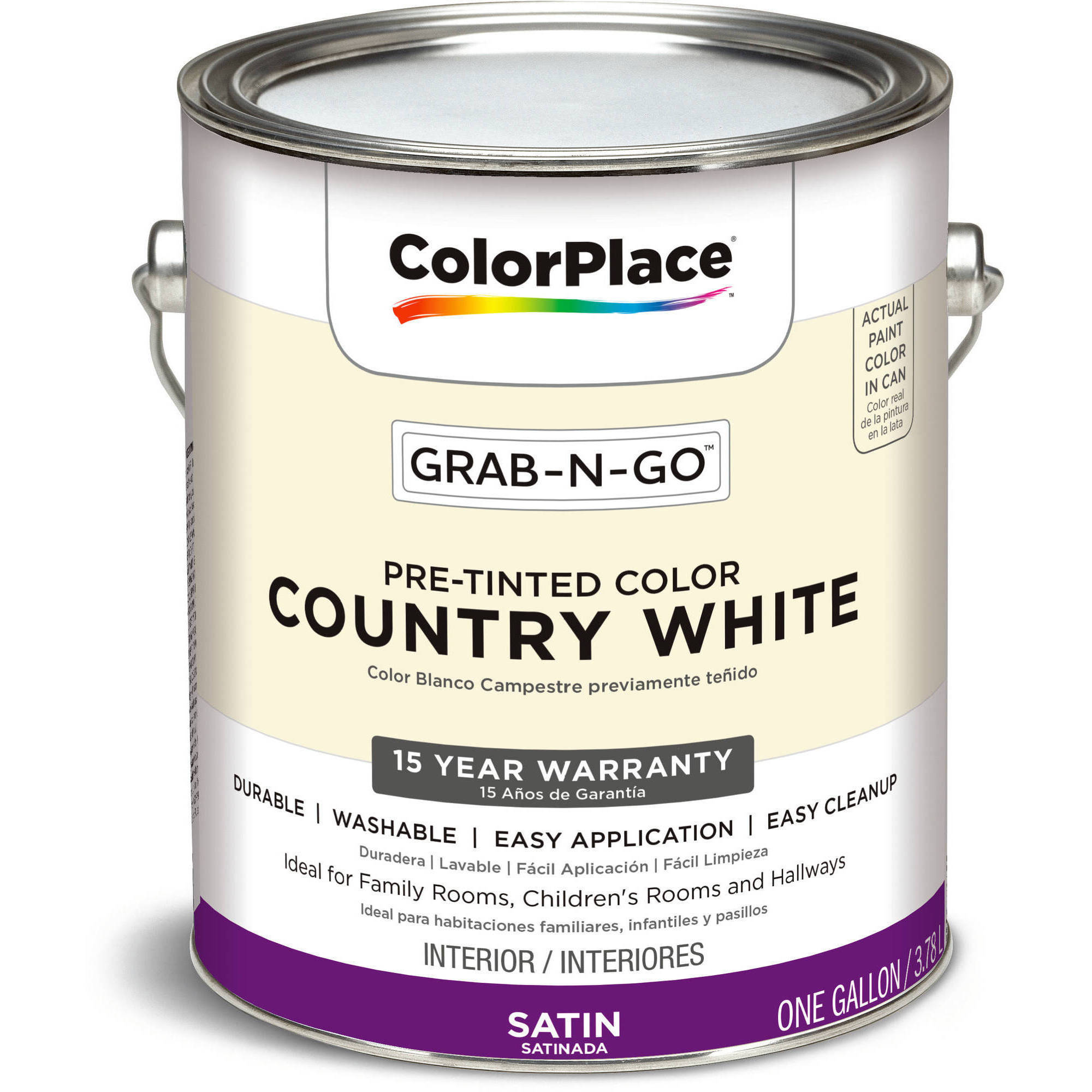 Beautiful ColorPlace Grab N Go Country White Satin Interior Paint 1 Gallon