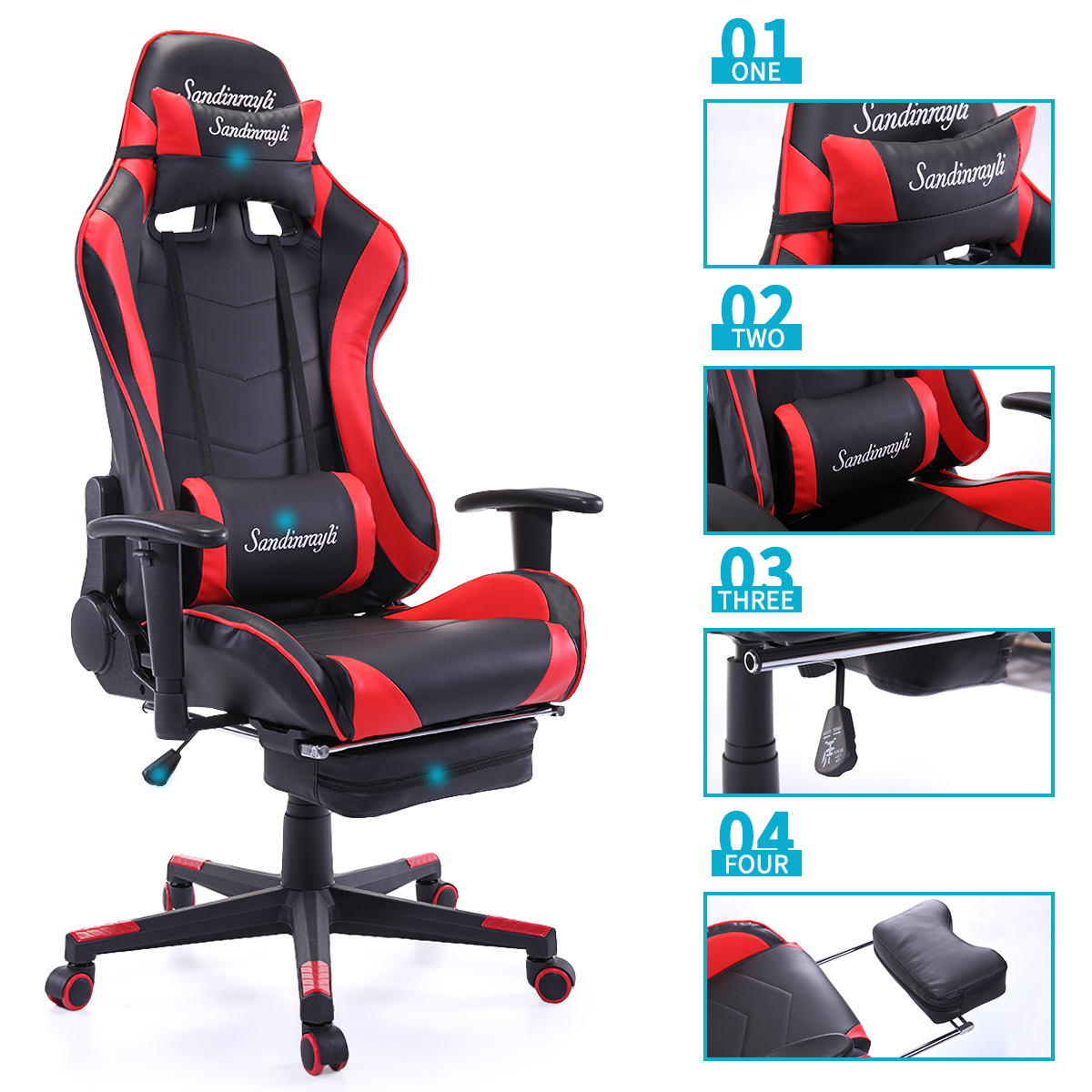 Jaxpety Red Racing Chair Ergonomic High Back Office Desk Chair Swivel PC Gaming Chair w/Lumbar Support &Footrest
