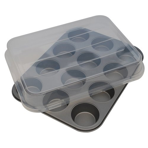 Mainstays Non-Stick 12 Cup Cupcake Pan with Lid, 1 Each