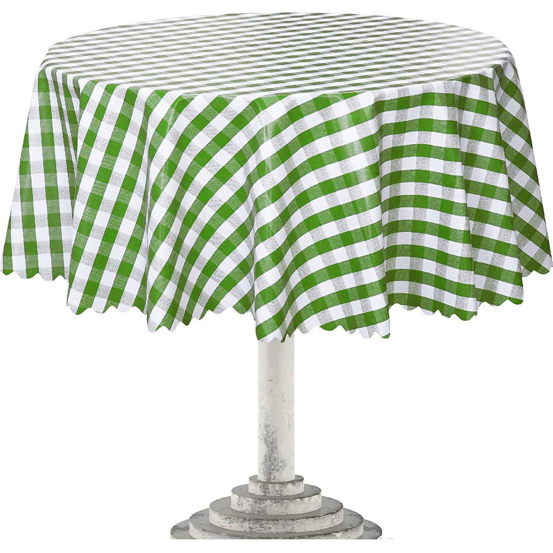 Ottomanson Vinyl Green Checkered Design Indoor & Outdoor Tablecloth with Non-Woven Backing