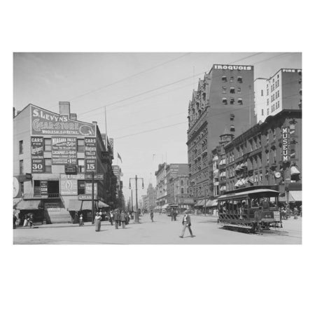Trolleys and Pedestrians on Main Street in Buffalo, New York Print Wall