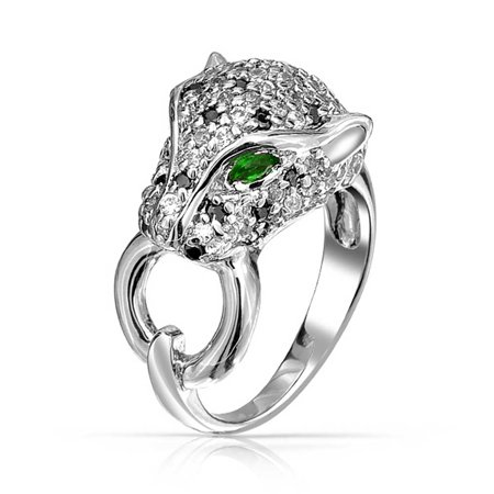 Green Eye Black White Cubic Zirconia CZ Fashion Leopard Panther Cat Statement Ring For Women Silver Plated Brass