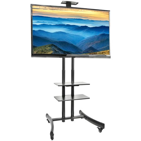 VIVO TV Cart for LCD LED Flat Screen Mount Stand w/ Mobile Wheels fits 30″ – 70″