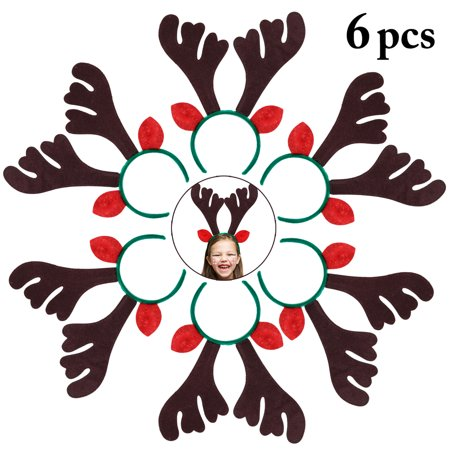 6-Pack Coxeer Adult Reindeer Antlers Headband Christmas Costume Accessories Hair Accessory for Women Children Girls
