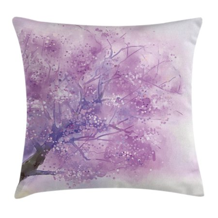 Watercolor Flower Home Decor Throw Pillow Cushion Cover, Dreamy Tree Body View with Cloudy Details Love Valentines Motif, Decorative Square Accent Pillow Case, 16 X 16 Inches, Purple, by Ambesonne