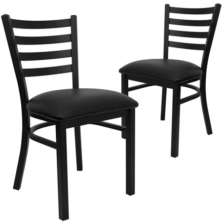 Flash Furniture Ladder Back Chairs - Set of 2, Black Metal / Black Vinyl Seat ()