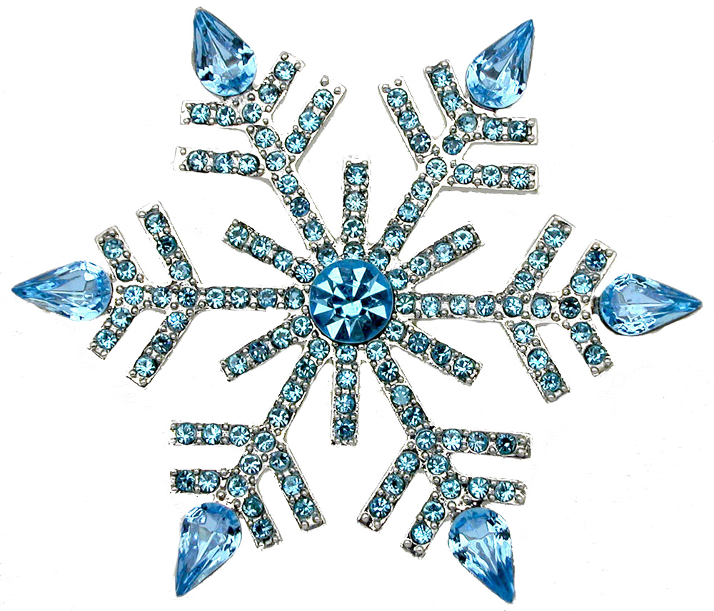 Faship Aqua Big Snowflake Pin Brooch Gorgeous Aquamarine Light Blue by Faship