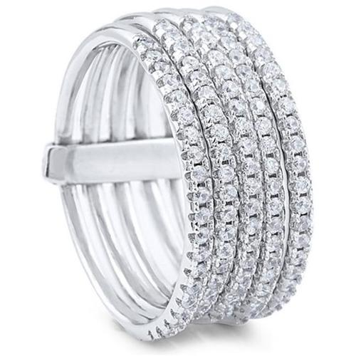 Doma Jewellery SSRZ7369 Attached Sterling Silver Stacking Ring With Cubic Zirconia, Size 9