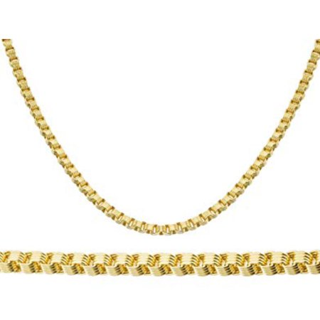 10K Yellow Gold Men Womens 3MM Alexander Chain Necklace Lobster Clasp 18 to 24 Inches (18)